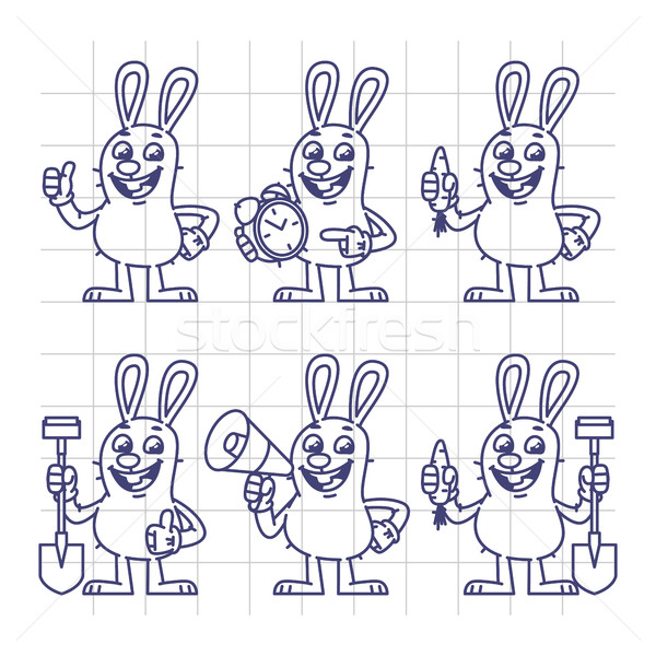 Sketch Rabbit Holds Carrot Clock Shovel Megaphone Set Characters Stock photo © yuriytsirkunov