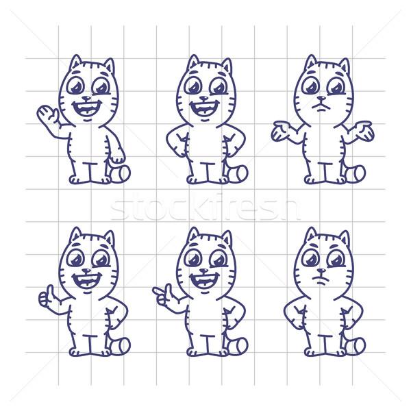 Rajz szett macska karakter kabala felirat Stock fotó © yuriytsirkunov