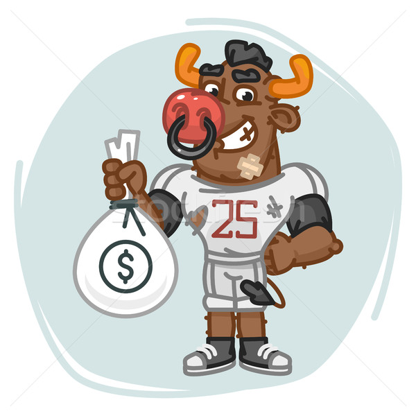 Bull Football Player Holds Money Bag Stock photo © yuriytsirkunov