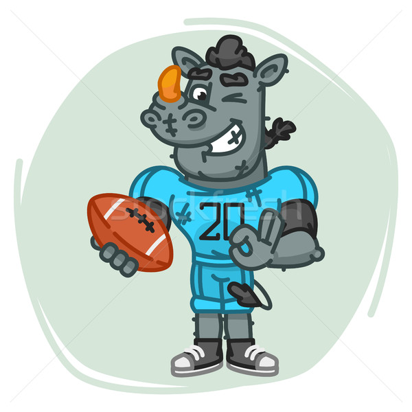 Rhino Football Player Holds Ball and Shows Ok Stock photo © yuriytsirkunov