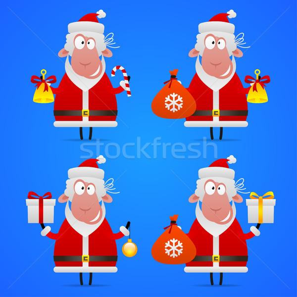 Sheep Santa Claus in various poses Stock photo © yuriytsirkunov