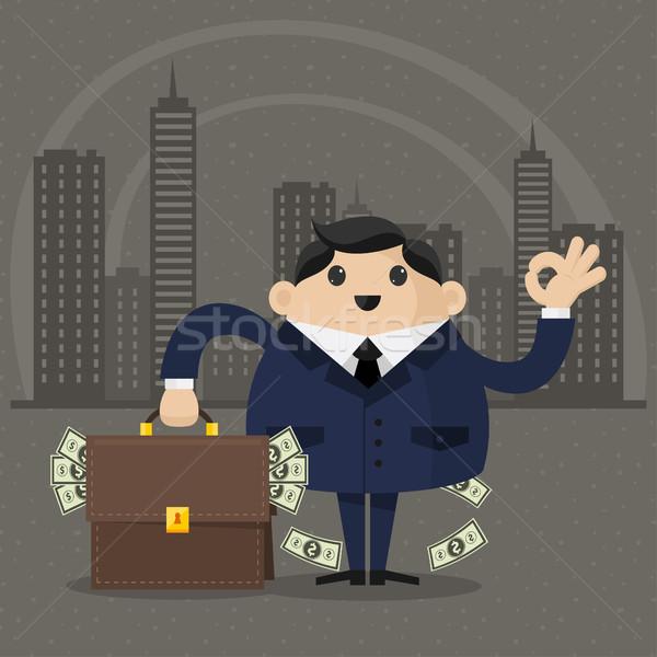 üzletember bőrönd pénz illusztráció formátum eps Stock fotó © yuriytsirkunov