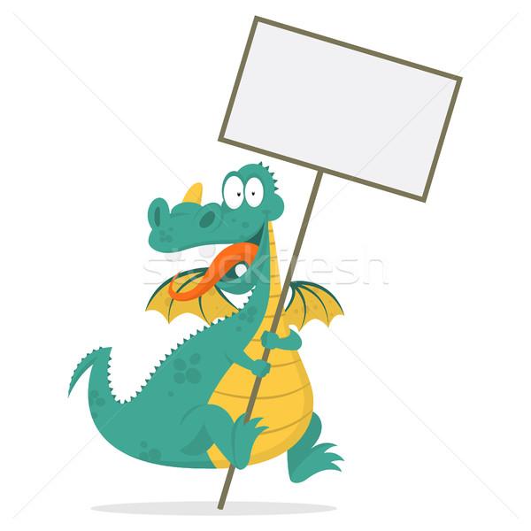 Cheerful dragon holds in hands blank board Stock photo © yuriytsirkunov