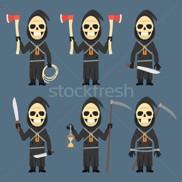 Death Holds Scythe Ax Machete Hourglass Stock photo © yuriytsirkunov