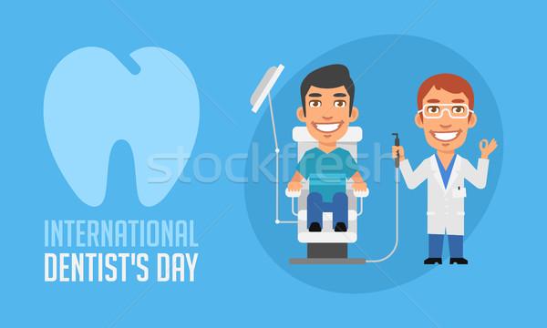 Stock fotó: Nemzetközi · fogorvosok · nap · fogorvos · beteg · fotel