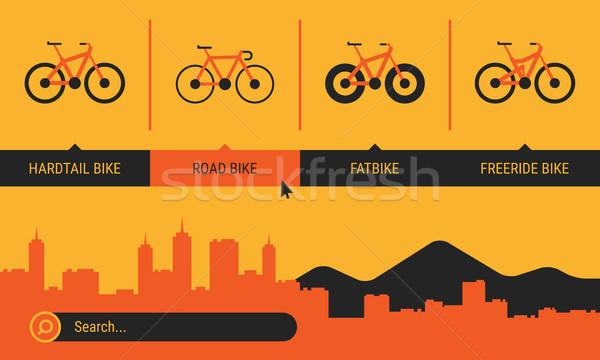Site Header Different Bicycle Bikes Search Orange Yellow Black C Stock photo © yuriytsirkunov