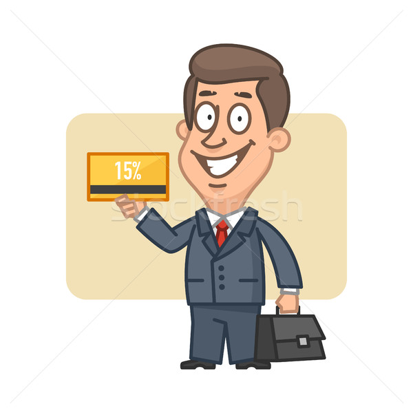 Businessman holding bank card and smiling Stock photo © yuriytsirkunov