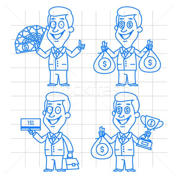 Doodle zakenman geld belonen illustratie formaat Stockfoto © yuriytsirkunov