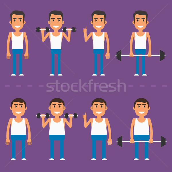 Thick and thin athlete in different poses Stock photo © yuriytsirkunov