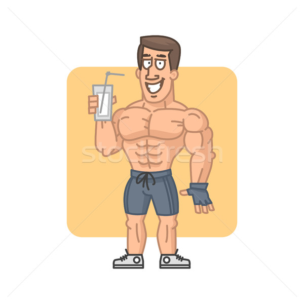 Bodybuilder holding glass cocktail protein Stock photo © yuriytsirkunov