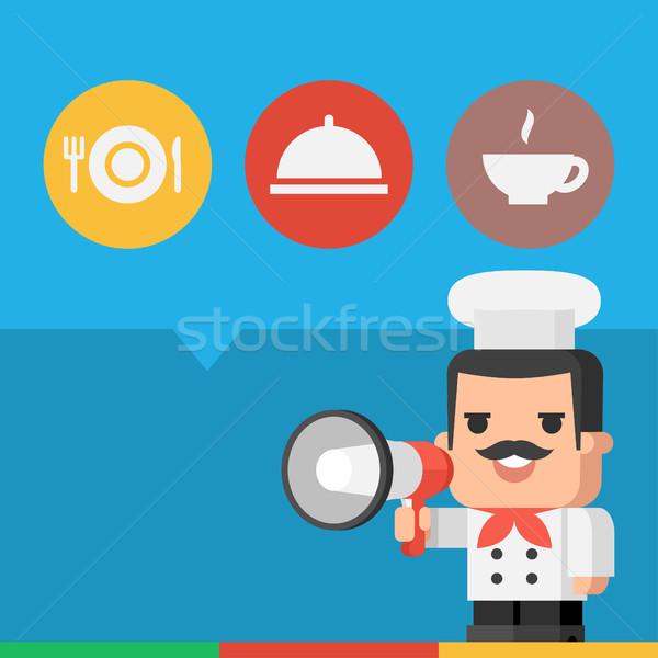 Chef megafone ilustração formato eps Foto stock © yuriytsirkunov