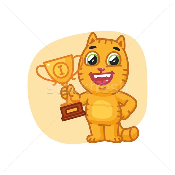 Kedi mutlu fincan format eps Stok fotoğraf © yuriytsirkunov