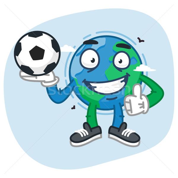 Character Earth Holds Soccer Ball Stock photo © yuriytsirkunov