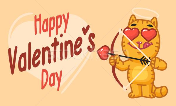 Valentines Day Cat Shoots From Bow Stock photo © yuriytsirkunov