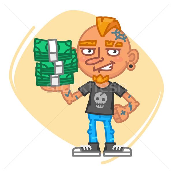 татуировка художник деньги талисман характер улыбка Сток-фото © yuriytsirkunov