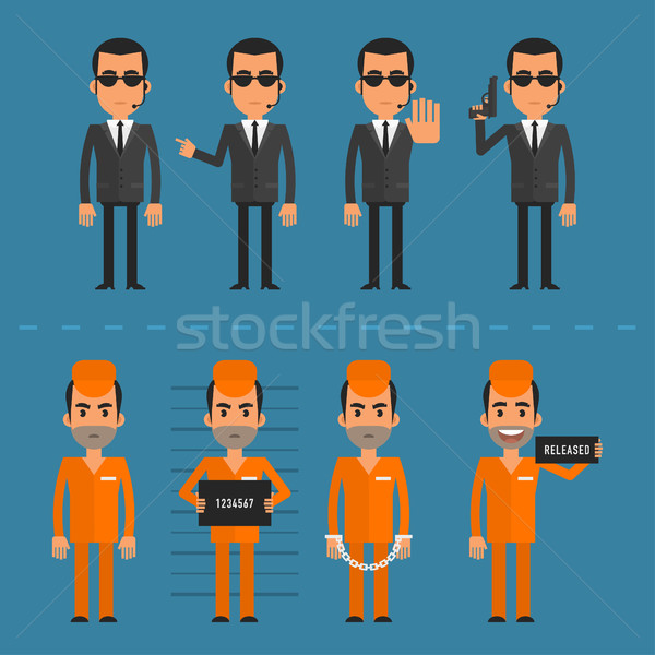 Prisoners and bodyguard in various poses Stock photo © yuriytsirkunov