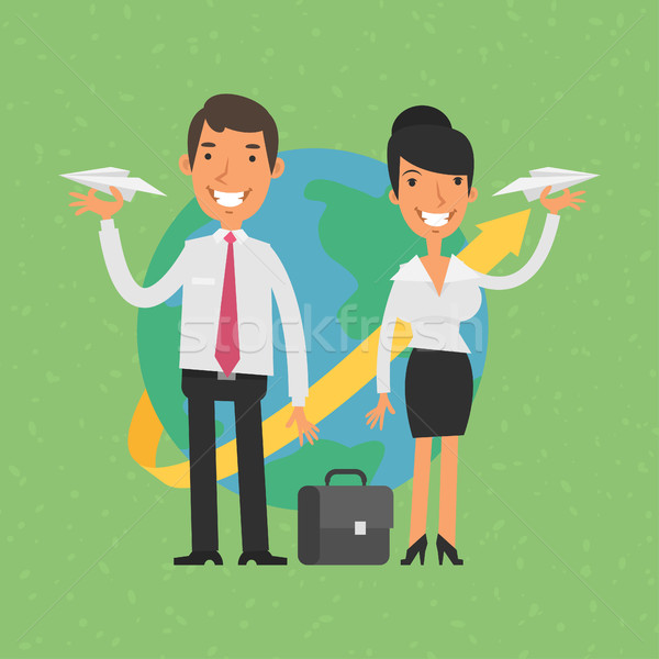 ストックフォト: ビジネスマン · 女性実業家 · 紙 · 実例