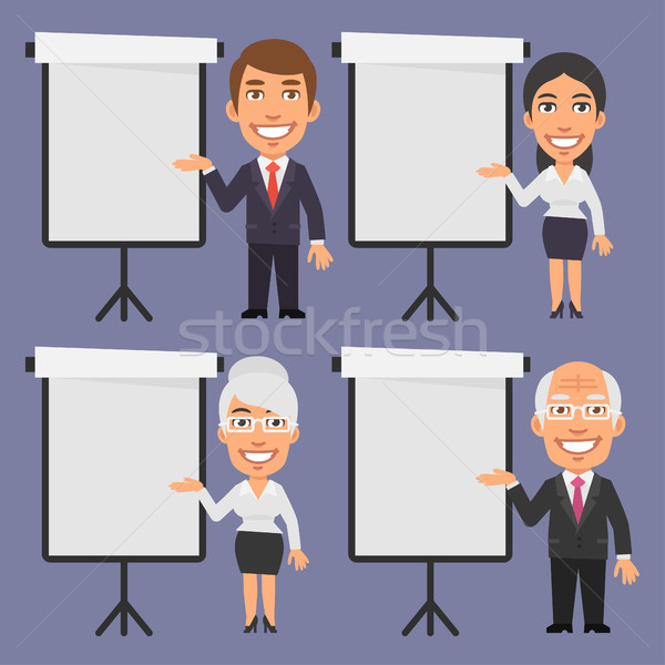 Businessman and Businesswoman Points to Blank Flip Chart Stock photo © yuriytsirkunov