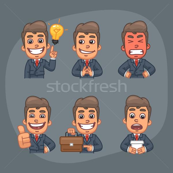 Zakenman ingesteld stickers pack sluw Stockfoto © yuriytsirkunov