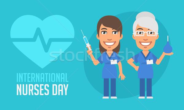 Internationale dag oude jonge verpleegkundige Stockfoto © yuriytsirkunov