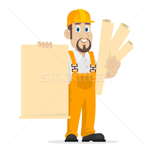 Stock photo: Builder holds clean sheet of paper