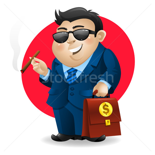 Businessman smoking cigar and holds suitcase Stock photo © yuriytsirkunov