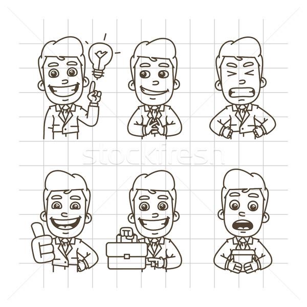 Zakenman schets doodle sluw kwaad Stockfoto © yuriytsirkunov