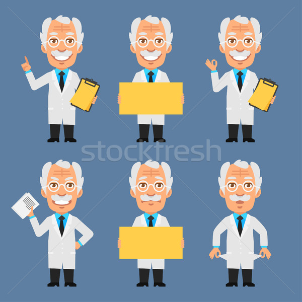 Old Professor Holds Poster Board and Shows Stock photo © yuriytsirkunov