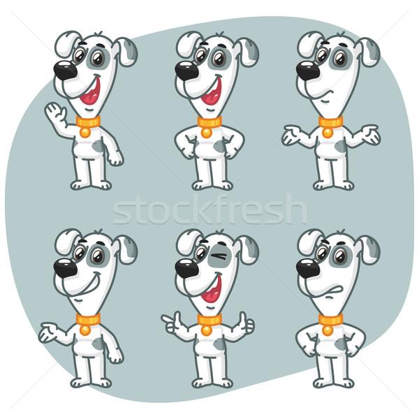 Ayarlamak köpek maskot karakter gülümseme Stok fotoğraf © yuriytsirkunov