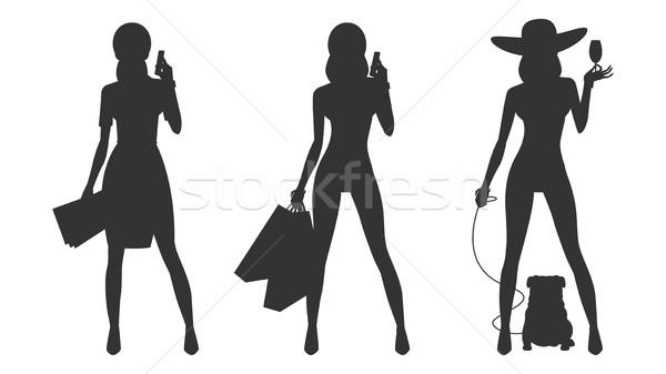 シルエット ビジネス女性 ショッピング 実例 フォーマット ストックフォト © yuriytsirkunov