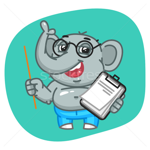 Elephant in Jeans Pants Holding Pointer and Notebook Stock photo © yuriytsirkunov