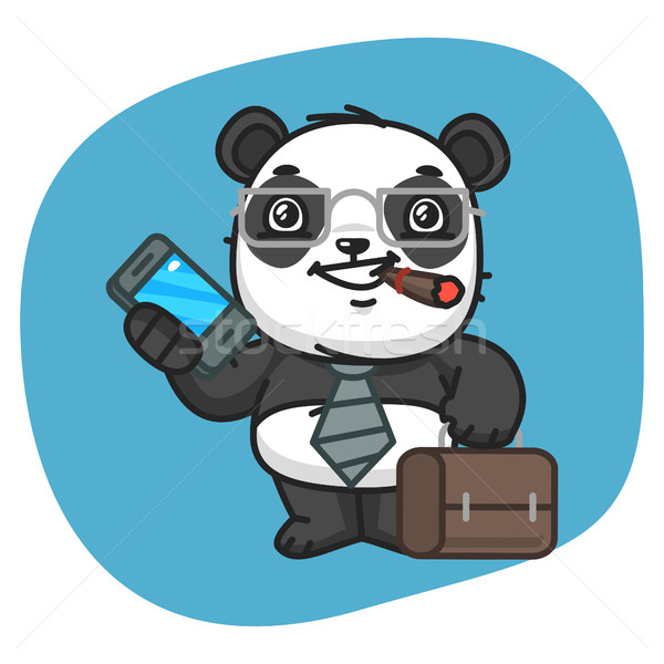 Panda Holds Suitcase and Phone Stock photo © yuriytsirkunov