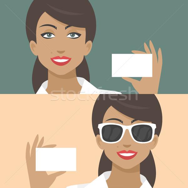 Vrouw glimlachen visitekaartje illustratie formaat eps 10 Stockfoto © yuriytsirkunov
