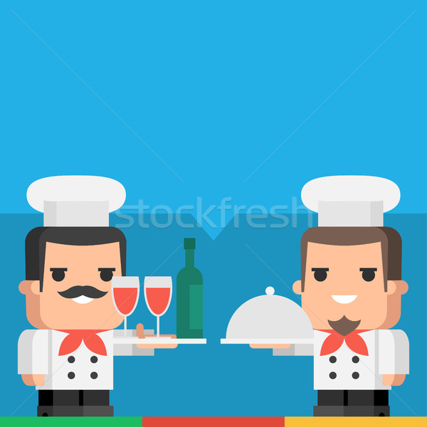 Chef vassoio bevande pasto illustrazione Foto d'archivio © yuriytsirkunov