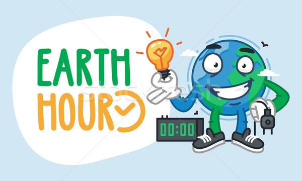 Earth Hour Earth Character Holding Light Bulb Stock photo © yuriytsirkunov