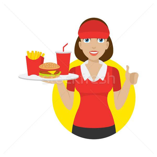 Meisje dienblad fast food illustratie formaat eps Stockfoto © yuriytsirkunov