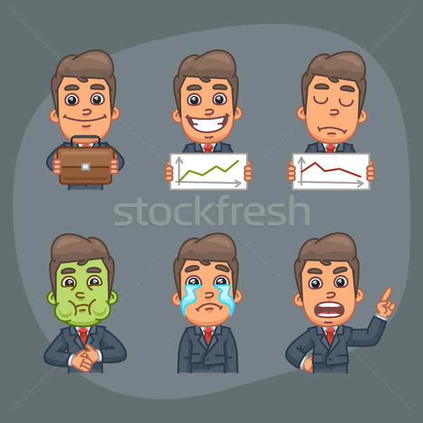 Businessman Set of 6 Poses Stickers Pack Part 4 Stock photo © yuriytsirkunov