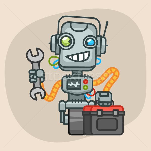 Robô mala chave inglesa formato eps 10 Foto stock © yuriytsirkunov
