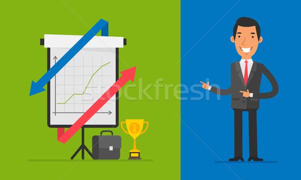 Business Concept Businessman Points on Flip Chart Stock photo © yuriytsirkunov