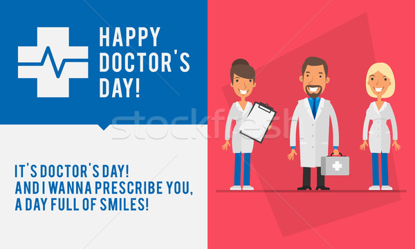 Concept Doctors Day Group People Two Womans and Men Doctor Stock photo © yuriytsirkunov