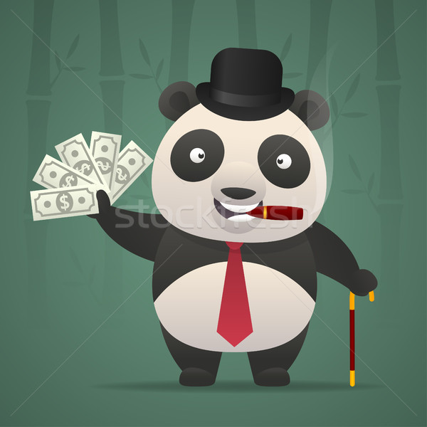 Panda fumer cigare argent illustration format Photo stock © yuriytsirkunov