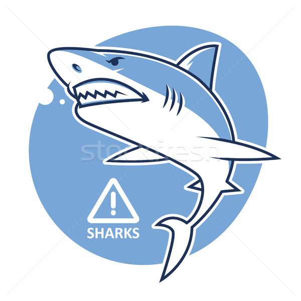 Evil shark warning sign Stock photo © yuriytsirkunov