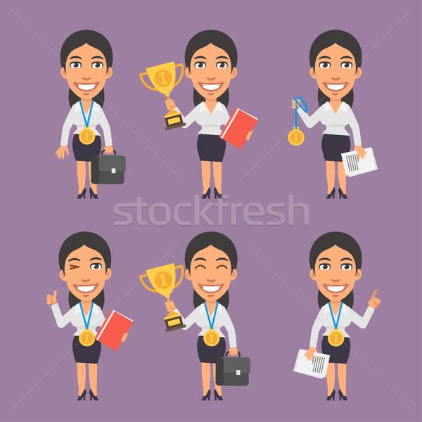 Femme d'affaires valise tasse médaille format eps Photo stock © yuriytsirkunov