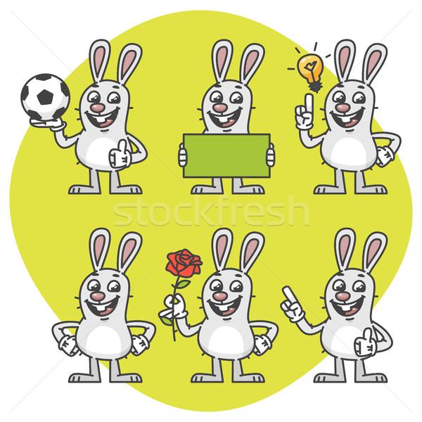 Rabbit Holds Soccer Ball Empty Nameplate Flower Set Characters Stock photo © yuriytsirkunov