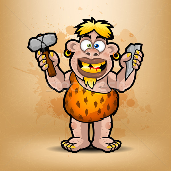 Neanderthal holds stone and hammer Stock photo © yuriytsirkunov