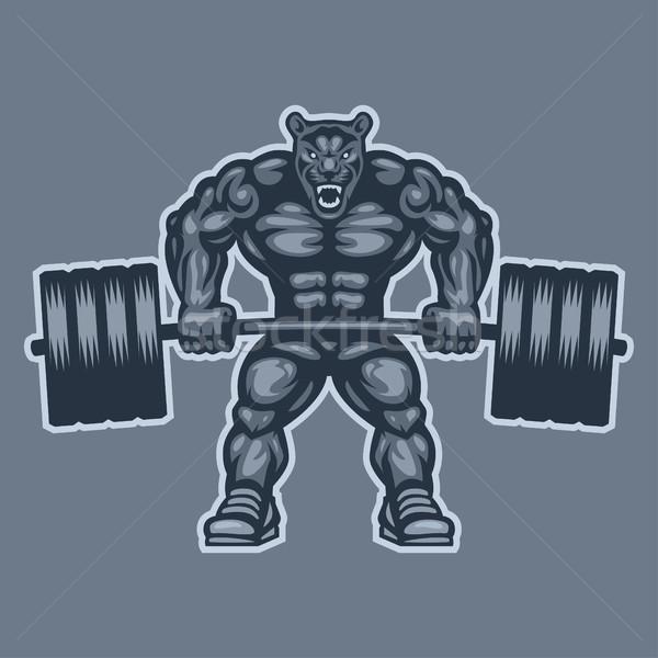 Panther bodybuilder lifting barbell and growls Stock photo © yuriytsirkunov