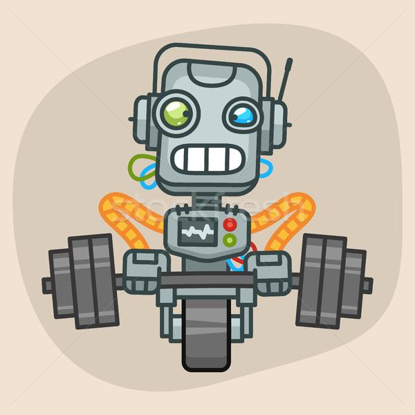 Robot omhoog zwaar barbell formaat eps Stockfoto © yuriytsirkunov