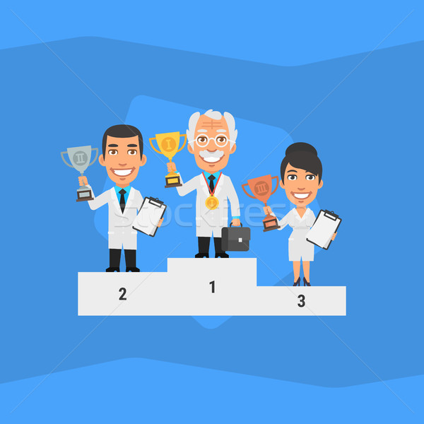 Three Scientists Standing on Pedestal and Holding Cup Stock photo © yuriytsirkunov