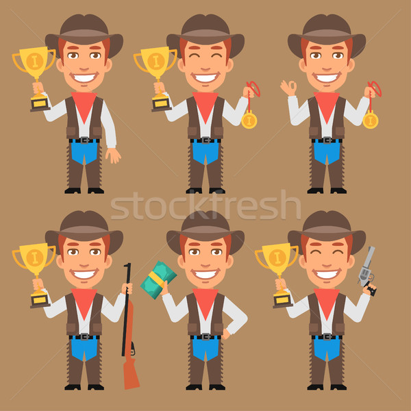 Cowboy Holds Cup Medal and Money Stock photo © yuriytsirkunov