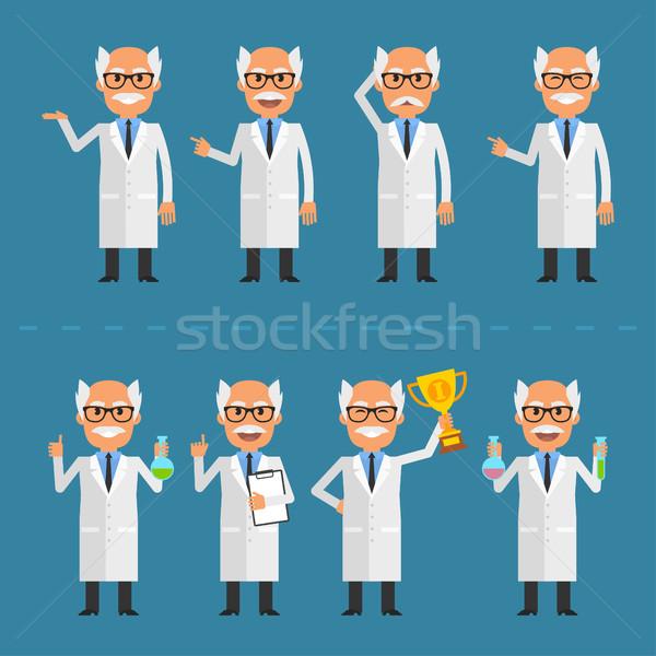 Old scientist in various poses Stock photo © yuriytsirkunov